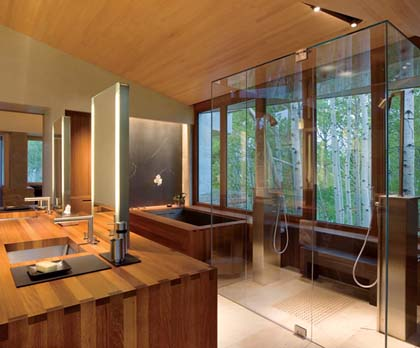 Bathroom-with-interior-in-style-Feng-Shui-and-wooden-furniture