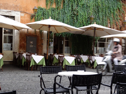 View from the Cafè della Pace towards the empty tables at the restaurant across the street, Rome, Italy