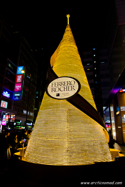 Giant three meter tall Christmas tree build of Ferrero Rocher ch