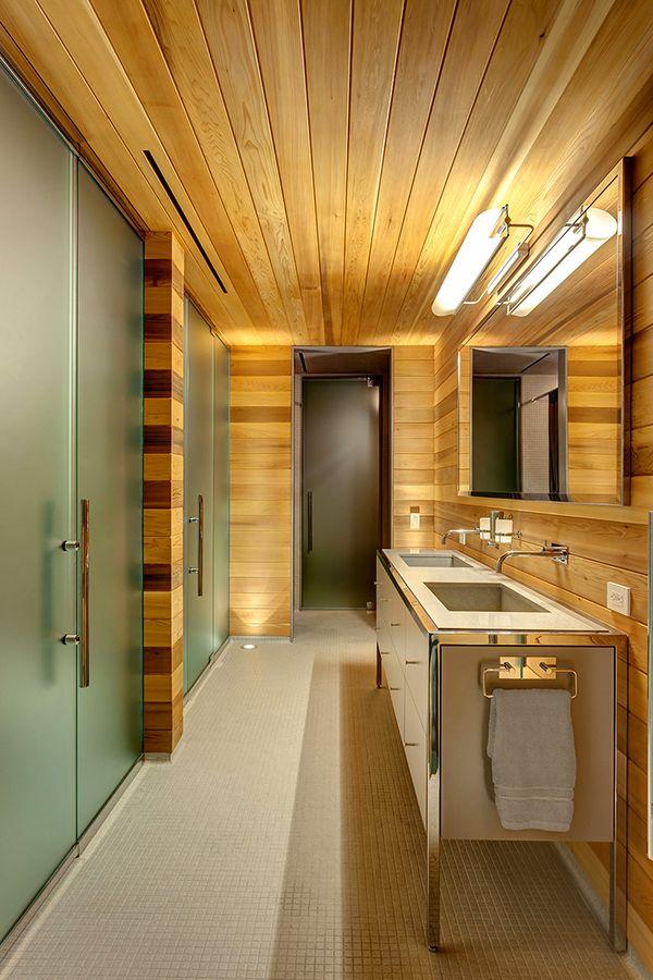 Exquisite Wooden Bathroom Interior Design Stylish Mansion in Canada